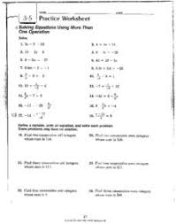 3 5 practice worksheet solving equations 8th 10th grade