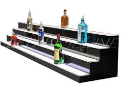 led lighted bar shelves 74 4 step led lighted bar shelf glass bottle display ledbaseline