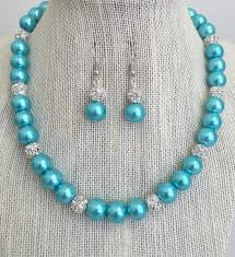 turquoise colored necklace images Aqua blue bridesmaid pearl necklace set turquoise blue rhinestone jpg