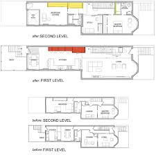 row home floor plans this is small row home renovation plan by kube architects read