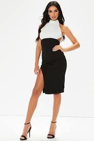 black and white dresses ria black white backless midi dress
