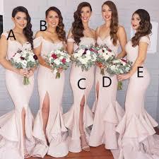 2016 new mermaid light pink sequins bridesmaid dresses bling long