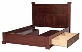 solid wood king size bed frames with storage with dark cherry