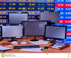 Business Interiors Group Business Interior With Pc Monitor And Keyboard Stock Photo