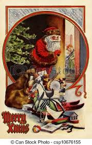 stock illustrations vintage christmas card santa claus