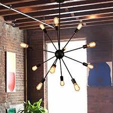 Vintage Sputnik Light Fixture Sputnik Chandelier 12 Lights Black Pendant Lighting