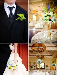 real wedding with simple details topiary centerpieces blue ivory