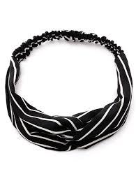 elastic hair band two tone striped elastic hair band in black sammydress