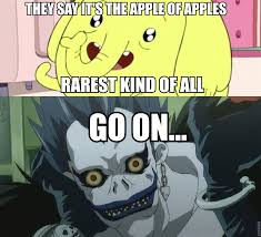Tree Trunks Meme - caption picture i made of tree trunks from adventure time and ryuk
