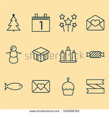 Happy New Year Decorative Flags by Set 16 Happy New Year Icons Stock Illustration 580610743