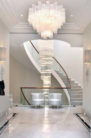 Wooden Banister Staircase Chandelier Contemporary Entry Contemporary With Wooden