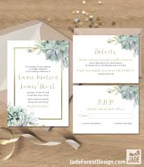 succulent wedding invitations succulent wedding invitation set greenery and gold geometric
