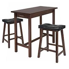 kitchen island with seating for 2 amazon com winsome kitchen island table with 2 cushion saddle seat