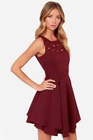 exclusive flirting with danger cutout burgundy dress box pleats