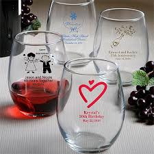 personalized favors 9 oz custom printed stemless wine glass wedding favors