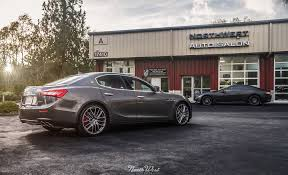 satin black maserati maserati ghibli car wrap in xpel stealth paint protection