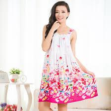 women cotton nightgown floral sleep dress sleeveless sleep shirt