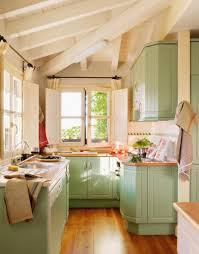 Rustic Kitchen Storage - small rustic kitchen at the corner with pretty green cabinets and
