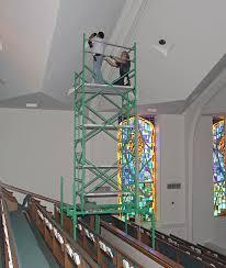 high ceiling light bulb changer church scaffolding applications
