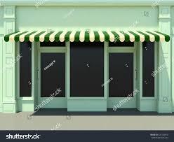 Modern Awnings Green Modern Shopfront Sun 3d Render Stock Illustration 420128470