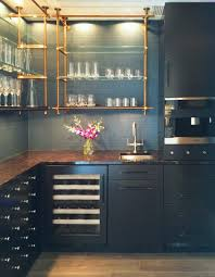 Glass Shelves For Kitchen Cabinets Luxurious Kitchen Design With Dark Blue And Gold Theme Tier Glass