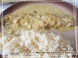 cuisiner filet de colin merlu au curry et riz canie la gnou