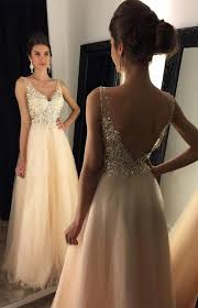 backless lace evening prom dresses champagne long party prom