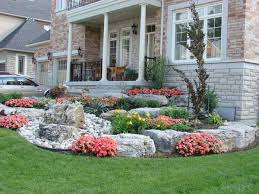 attractive details in small front yard landscaping with colorful