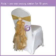 Gold Chair Sashes Gold Taffeta Organza Ruffled Chair Sash With Artificial Flower