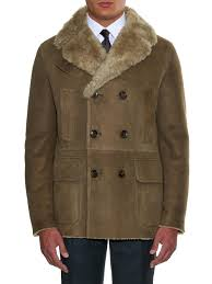 gucci double breasted shearling coat in natural for men lyst