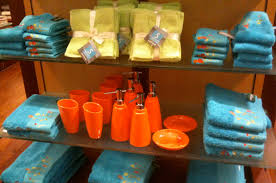 bathroom accessories orange interior design