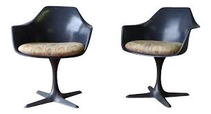 saarinen style mid century modern side chair by burke chairish