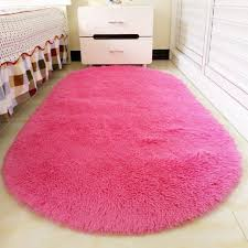 Pink Area Rug Ellipse Shape Pink Area Rug Bedroom Living Room Hair Shaggy