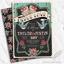 theme invitations rockabilly wedding invitations 50 s theme set of 10 printed ebay