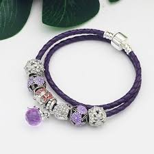 diy beaded charm bracelet images Purple real leather chain glass crystal beads charm bracelet for jpeg
