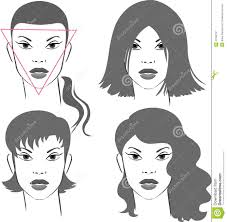 before and after pics of triangle face hairstyles hairstyles for triangular face stock vector illustration of