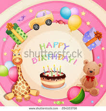 birthday card birthday cake balloons gifts stock vector 137696201