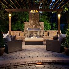patio ideas rustic with outdoor firepit d string lights