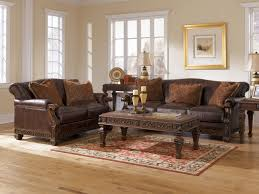 furniture set living room opulence traditional wood trim brown genuine leather sofa couch