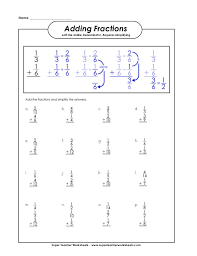 collection of solutions adding fractions super teacher worksheets