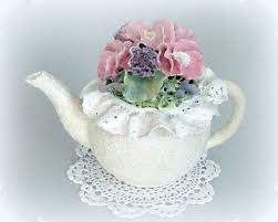 shabby chic centerpiece teapot decor pink floral arrangement