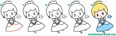 how to draw cute chibi kawaii cinderella u0026 blue bird easy step