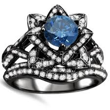 Flower Wedding Ring by Noori 14k Black Gold 2ct Blue Round Diamond Lotus Flower