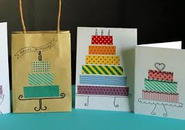 birthday cards with washi tape cakes make and takes