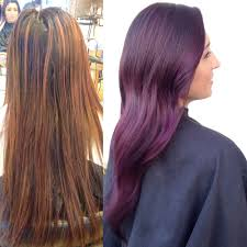 brown plum hair color transformation plum color melt career modern salon