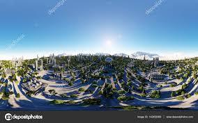 360 degrees futuristic city town architecture of the future