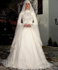 saudi arabia muslim long sleeve wedding dress high collar chiffon