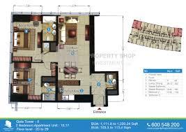 2 bedroom floor 20 29 1111 8 sqft floor plan of the gate tower 2