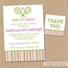 Invitation Cards Birthday Party Tennis Birthday Party Invitation Diy Printable Invitations