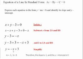standard one maths standard form of a line ax by c 0